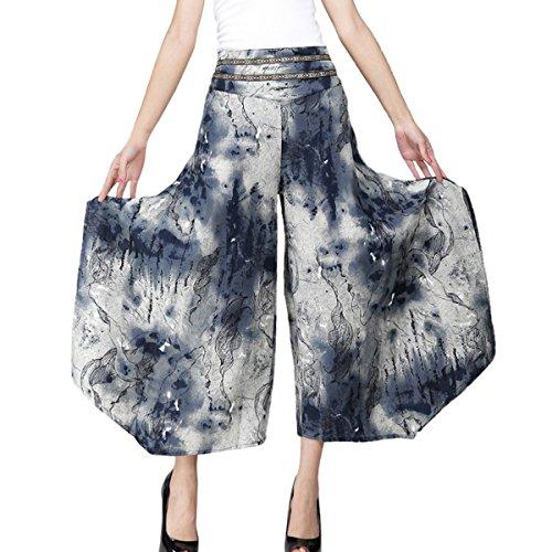 Feoya Étnico Faldas Pantalones Anchos Largos Holgados Palazzo Casual de Algodón para Mujeres Chicas, Pintura China
