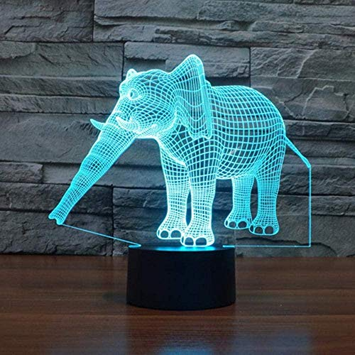 Creative Elephant Night Light 3D FZAI Amazing Optical Illusion 7 Colors Children Bedroom Table Desk Lamps Touch Switch Great Gifts