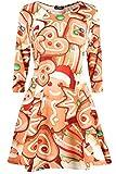 Be Jealous Damen-Minikleid mit langen Ärmeln, Weihnachtsmann, Weihnachtsbaum, ausgestellt, Größe 34-56 Gr. 58-60, Mokka Herz Cookie