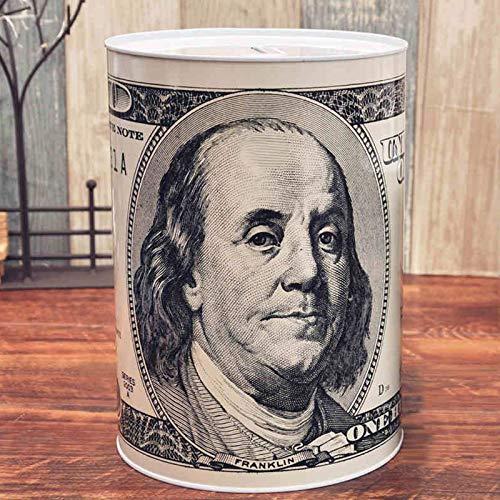 Banco De Dinero De Gran Capacidad, Caja De Almacenamiento De Billetes Y Monedas De Gran Capacidad para Adultos Banco De Dinero De Hierro Cilíndrico 0428C(Size:Puede retirar Dinero)