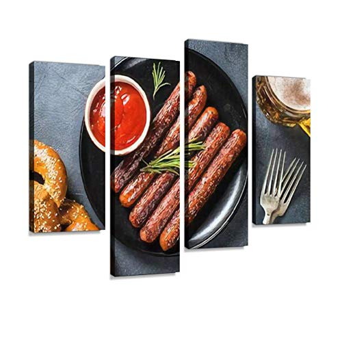 HIPOLOTUS 4 Panel Canvas Pictures Oktoberfest Food German Food Sausage Ketchup Mustard and bretzels Wall Art Prints Paintings Stretched & Framed Poster Home Living Room Decoration Ready to Hang