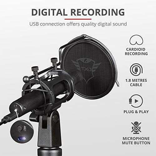 Trust Gaming USB PC Mikrofon mit Dreibeinstativ und Popfilter für Streaming GXT 241 Velica, Podcast, Stream, ASMR, YouTube, PC/Laptop/Computer - Schwarz