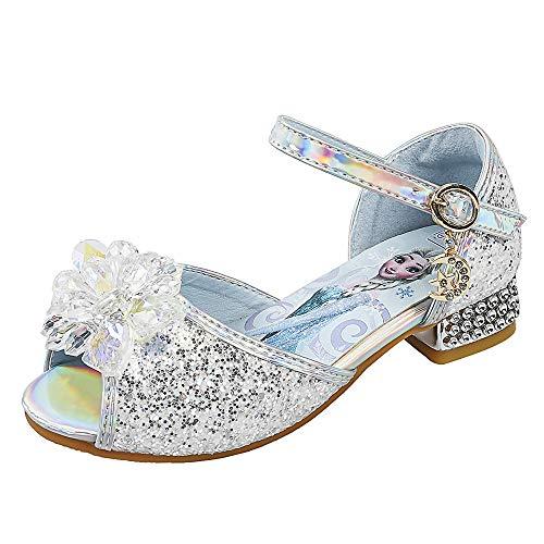 YOSICIL Niñas Zapatos de la Princesa Elsa Disfraz de Reina de Nieve con Lentejuela Zapatos de Ballet Tango Latino Sandalias con Tacón para Fiesta Halloween Cumpleaños Navidad EU23-37