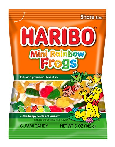 Haribo Gummi Candy, Mini Rainbow Frogs, 5 oz. Bag (Pack of 12)
