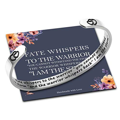 M MOOHAM I am The Storm Warrior Bracelet for Women, Fate Whispers to The Warrior Survivor Bracelet Jewelry Inspirational Gifts for Women Daughter, Cancer Fighting Encouragement Gifts