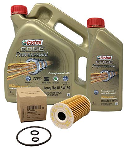 Castrol Aceite para Motor Edge Professional LongLife III 5W-30, 5 litros + Filtro de Aceite Original 03L115562