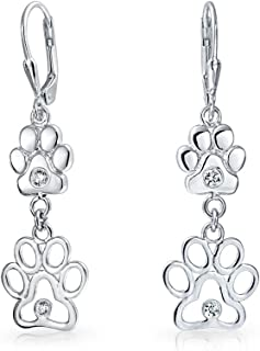 Bff Cut Out Open Animal Lover Pet Dog Cat Paw Print Dangle Earrings For Women Puppy Cubic Zirconia 925 Sterling Silver