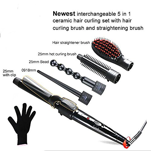 5 in 1 Lockenstab Set, Multifunktions Lockenwickler & Haarglätter mit Keramikbeschichtung Haarbürste & 4 austauschbare Gefäße & Hitzeschutzhandschuh