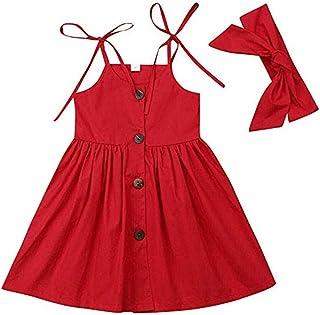 1-6Y Summer Kids Baby Girl Dress Sleeveless Solid Color Button A-line Strap Princess Girls Boho Dresses Headband 2PCS Sudnress