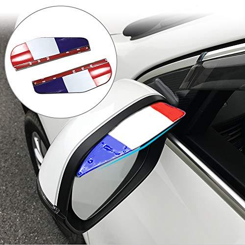 Tuqiang 3 Colores M Estilo PVC Flexible Espejo Retrovisor de Lluvia Cejas Impermeable Sombra de Visera para Coche Sedan Hatchback SUV H-RV MPV Pickup Truck 2 Piezas
