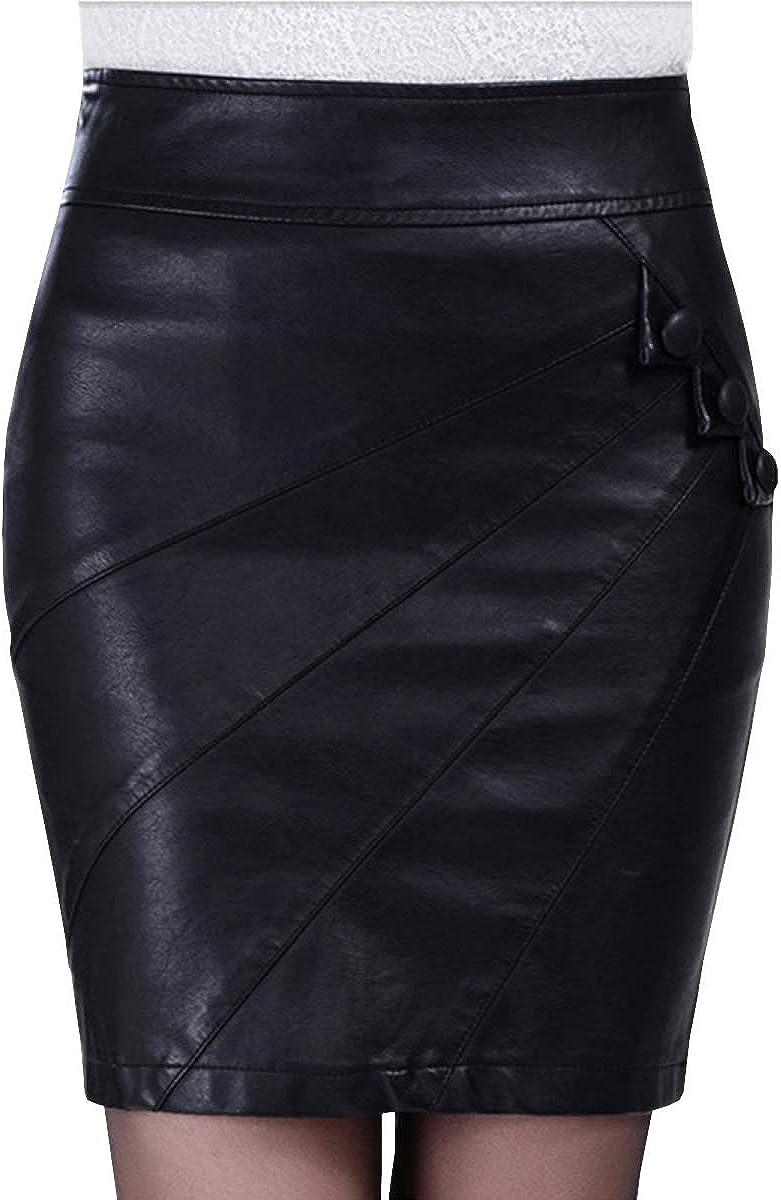DISSA FS335 Women Pu Leather Plus Size Mini Bodycon Pencil Club Skirt