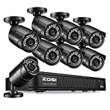 ZOSI 1080p H.265+ PoE Security Camera System, 8CH 5MP PoE NVR Recorder and 8 x 1080p Surveillance Bullet IP Cameras Outdoor Indoor with 120ft Long Night Vision (No Hard Drive Included), Remote Access