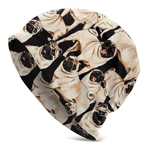 AEMAPE Beanie Hat, Pug Dog Fondo Negro Winter Skull Beanie Skater Hat Gorra Forrada de algodón para Hombres y Mujeres