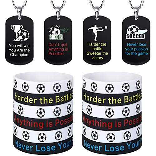 Gejoy 12 Pieces Soccer Theme Motivational Dog Tag Necklaces and 12 Pieces Soccer Inspirational Bracelets Silicone Wristbands for Soccer Player Sport Competition Party Favor