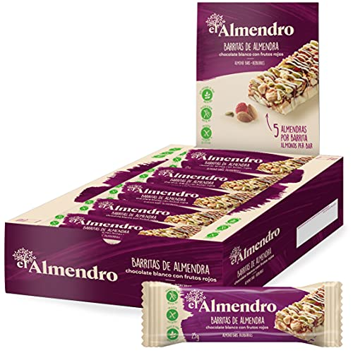 El Almendro - Barritas De Almendra Con - 10 Unidades. Sin Gluten, Sin Aceite De Palma, Alto Contenido En Fibra, Chocolate Blanco Y Frutos Rojos, 250 Gramo