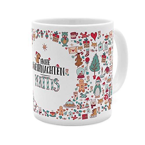 printplanet Tasse mit Namen Mattis - Motiv Frohe Weihnachten - Namenstasse, Kaffeebecher, Mug, Becher, Kaffeetasse - Farbe Weiß