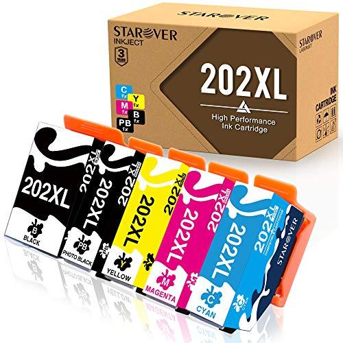 STAROVER Kompatibler Tintenpatronen Ersatz für Epson 202XL 202 XL für Epson Expression Premium Xp-6000 Xp-6005 Xp-6001 Xp-6100 Drucker (5er-Pack)