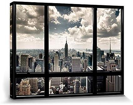 120x80cm New York Fenster Skyline Poster Leinwand-Druck #67794