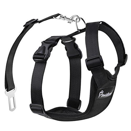 Pawaboo Pettorina di Sicurezza per Cani, Imbracatura Regolabile per Auto Viaggio Cintura con Clip per Cintura Auto, Taglia Medio, Nero