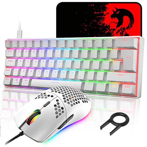 UK Layout 60% mechanische Gaming-Tastatur, Blauer Schalter, Mini-62 Tasten, kabelgebunden, Typ C, RGB Hintergrundbeleuchtungseffekte + leichte optische RGB-Maus mit 6400 DPI + großes Mauspad - Weiß