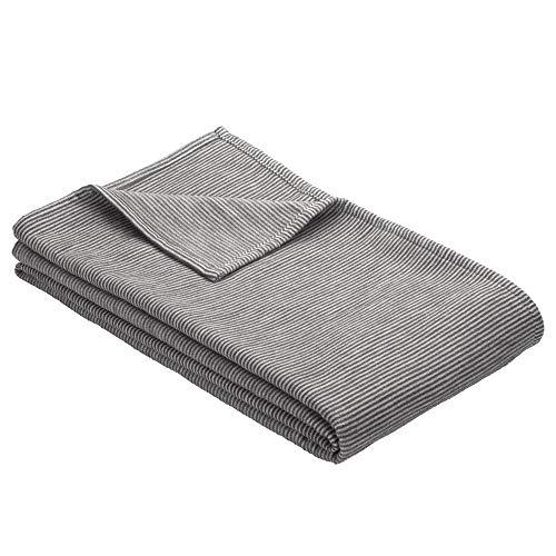 Ibena Turin Kuscheldecke 140x200 cm – Baumwolldecke grau hellgrau Streifenmuster, hochwertige Markenqualität Made in Germany