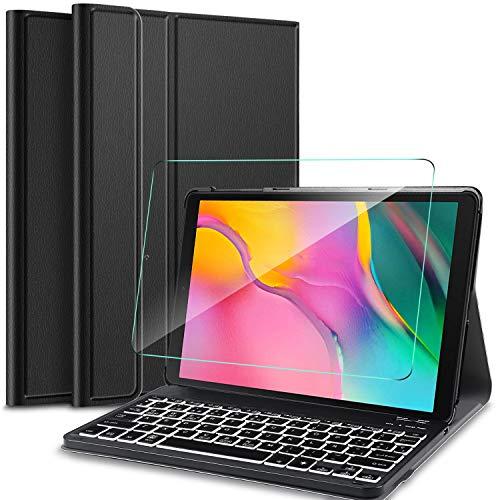 IVSO Español Teclado para Samsung Galaxy Tab A 10.1 2019, Protector de Pantalla para Samsung Galaxy Tab A 10.1 T510/T515 2019, Funda con 7 Colores Retroiluminado Wireless Teclado con Ñ, Negro