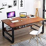 XM&LZ 55in Madera Escritorio Escritura con Estante,Moderno Escritorio De Oficina En Casa con Hutch Mesa Simple,Industrial Mesa Portátil para Grandes Espacios-Sándalo 140x70x72cm(55x28x28inch)