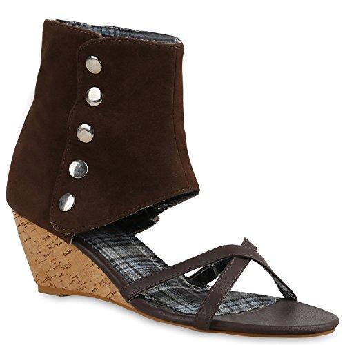 Damen Sandaletten Sandal Boots Schaftsandaletten Kork Keilabsatz Schuhe 138791 Braun Korkoptik 38 Flandell