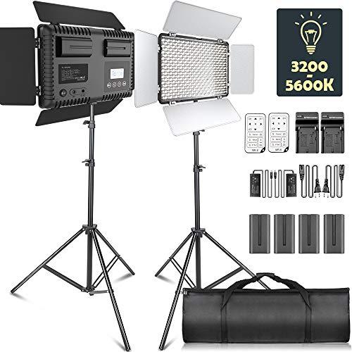 LED Video Licht, SAMTIAN Dimmable 2 Stück Bi-Farbe 600 LED Video: 3200K-5600K LED-Panel-Leuchte mit Abteil, 2M-Lichtstativ für YouTube-Studio-Fotografie