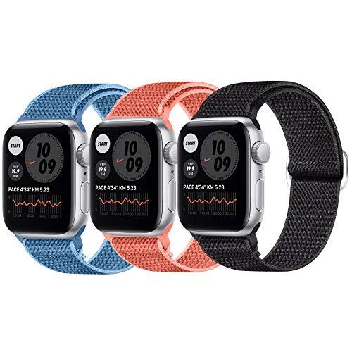 JUCC 3 Pack Correas Compatible con Apple Watch 44mm 42mm 38mm 40mm,Pulseras de repuesto de Nylon Correa para iWatch Series 5 4 3 2 1,Mujer y Hombre (38mm/40mm,Negro Sand/Arena naranja/Azul)