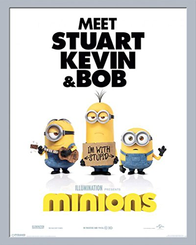 Despicable Me - Minions - I\'m with Stupid - Mini Poster Plakat - Größe 40x50 cm + Wechselrahmen, Shinsuke® Mini MDF Silber, Acryl-Scheibe