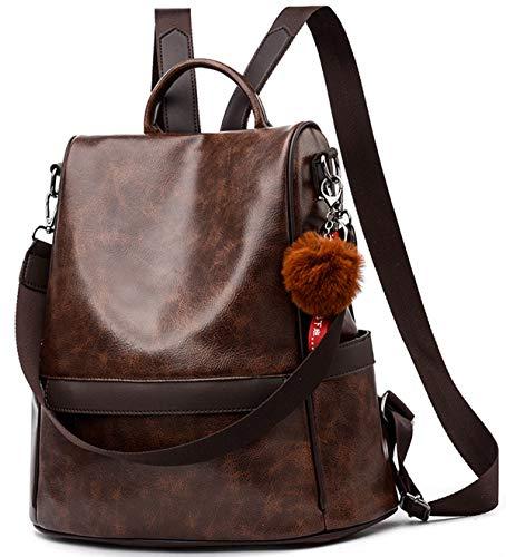Damen Soft PU Leder Rucksack Handtasche Schultertasche All in One Multifunktions Anti Diebstahl Tasche Wasserdichte Rucksack (Kaffee)