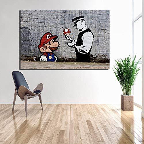 KWzEQ Künstler Cartoon Charakter Pilz Ölgemälde auf Leinwand Kunstplakat und Druckgravur auf Leinwand,Rahmenlose Malerei,80x120cm