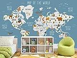 Murwall Kids Wallpaper Blue World Map Wall Mural Cartoon Animal Wall Print Nursery Wall Decor Childroom Play Room Bedroom