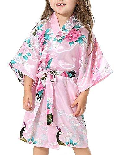Minetom Niñas Pijama Satén Kimono Robe Bata Albornoces Pavo Flores Cómoda Bonita Larga Camisón Albornoz Rosa 140