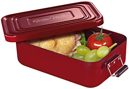 Küchenprofi Lunchbox Aluminium Rot, inkl. Wunschgravur auf dem Deckel (groß (23 x 15 x 7 cm))