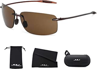 f35b58585149 JULI Sports Sunglasses for Men Women Tr90 Rimless Frame for Running Fishing  Golf Surf Driving Cycling