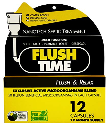 Flush Time Septic Tank Treatment | 1 Yr Supply | Natural Toilet Flushable Monthly Septic System Cleaner Additive | Odor Control | Preventive Septic Maintenance | NanoTech 50 Billion Bacteria x Capsule