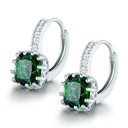 MASOP 925 Sterling Silver Princess Cut Birthstone May Emerald Pieced Huggie Hoop Earrings for Women