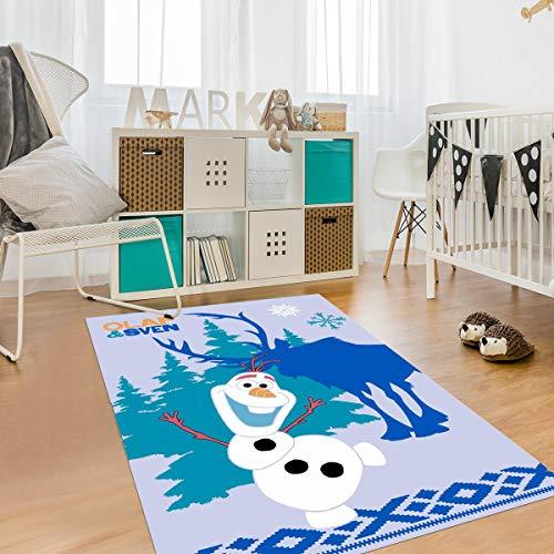Tapis Enfant 95x133 cm Rectangulaire Olaf ET Sven Bleu Chambre adapté au Chauffage par Le Sol