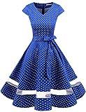 Gardenwed Vintage Vestidos Coctel Corto 50s Vestido de la Fiesta para Mujer Royal Blue Small White Dot XS