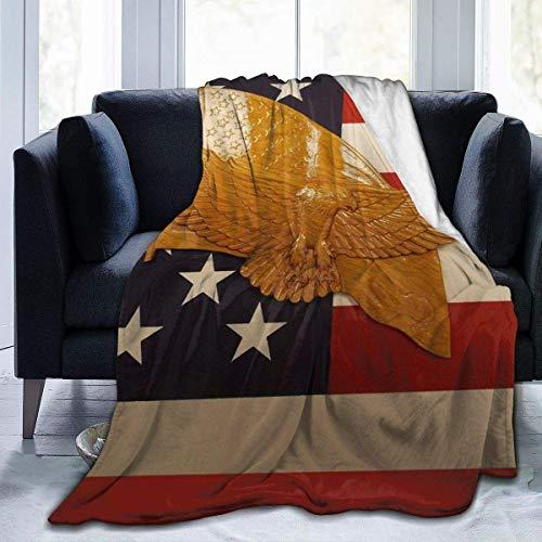angwenkuanku Couverture en flanelle ombre pour canapé super douce et confortable en microfibre pour canapé toutes les saisons, 4 juillet américain aigle à tête blanche 50 x 40 cm
