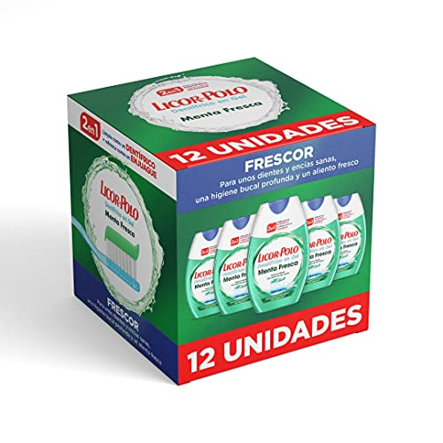 Licor del Polo - Dentífrico 2en1 Menta Fresca - Pasta de dientes que mantiene la boca fresca - Limpieza eficaz - Fórmula clásica- 12uds de 75ml