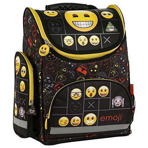 Emoji Emotikon Schulranzen ergonomischer Rucksack Schulrucksack Schwarz Mädchen Jungen