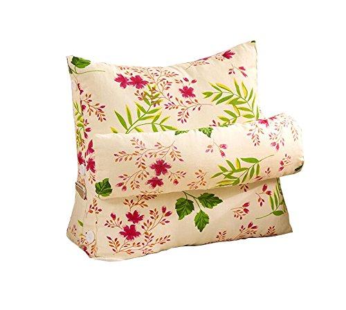 Réglage triangulaire Coussin / coussin de cale arrière, canapé-lit de bureau Toile Coussins de grand repos Coussin de soutien au cou (fleurs roses) ( taille : 60*50*22cm )