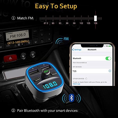 FM Transmitter, TEUMI Wireless in-Car FM Radio Adapter Bluetooth Car Kit with Hands Free Calling, Dual USB Ports (5V/2.4A & 1A), Support SD Card USB Flash Drive [Blue Ambient Ring Light]