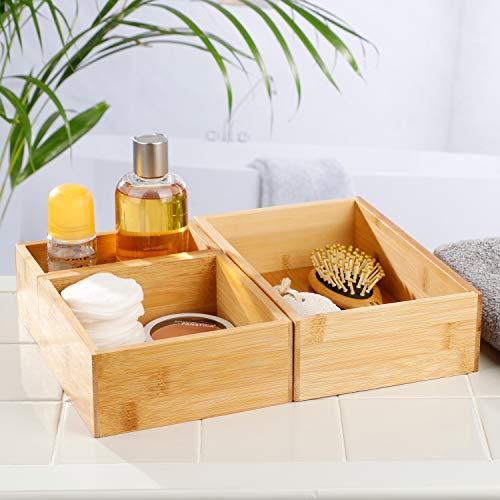 Juego de 3 cajas de bambú de 23 x 15 cm / 15 x 15,5 cm / 7,5 x 15 cm – Caja de bambú para el baño