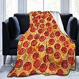 RomaniaGH Pepperoni Pizza Manta de Forro Polar ultrasuave, acogedora, cálida Manta de Felpa para sofá/Cama/sofá, Negro, 80' x60