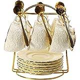 Thumby El té de cerámica Fija Modelo de la Taza de café Rose Set 6 Piezas Regalos de Boda Inicio (Color: A) jianyu (Color : A)