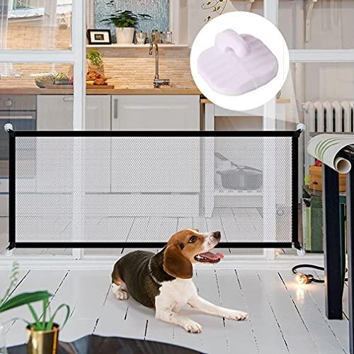 Puerta Mágica para Perros,Vallas para Perros Plegable y portátil Adecuado para Perros Gatos Pasillos Cocinas Dormitorios Escaleras Separar bebés y Mascotas en escaleras en Interiores 110 * 72cm